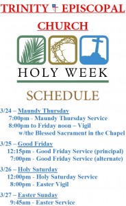 2016 Holy Week Schedule for Paper